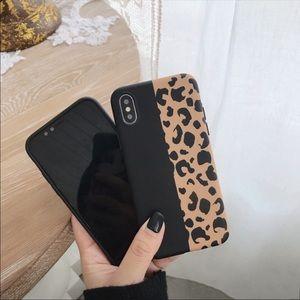 SALE Half Leapord Print Black iPhone Case
